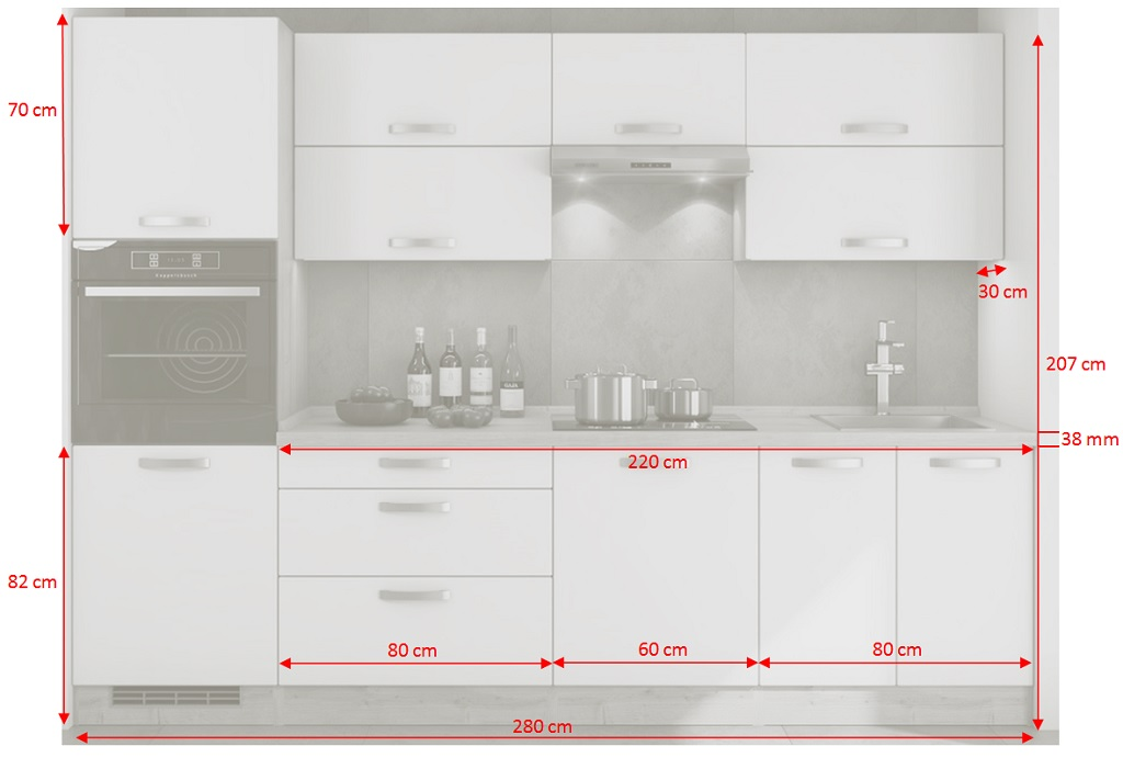 Rozmery bielej kuchyne s drevom Sabrina 300 cm
