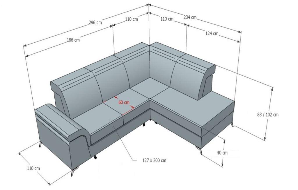 Rozměry sedačky Calvaro