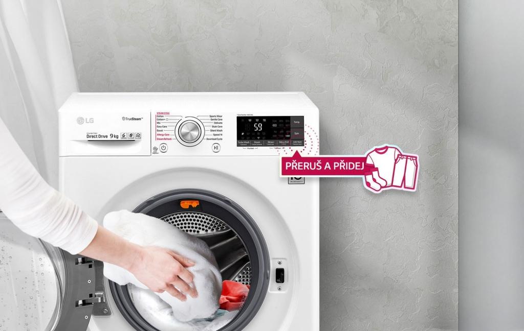 """Funkcia """"Pridaj bielizeň"""" práčky so sušičkou LG"""