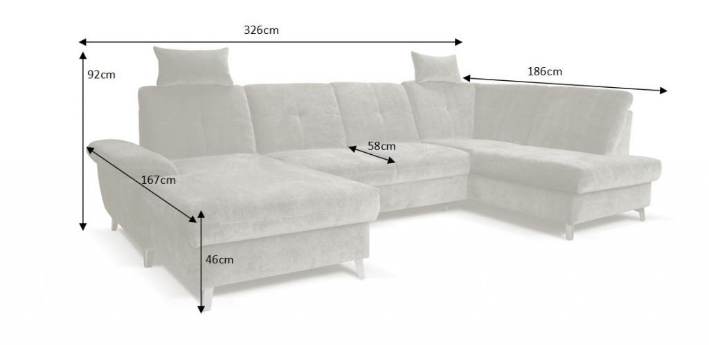 rozměry sedačky Latina - detail rozkladu
