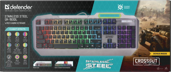 Herní klávesnice Defender Stainless steel GK-150DL