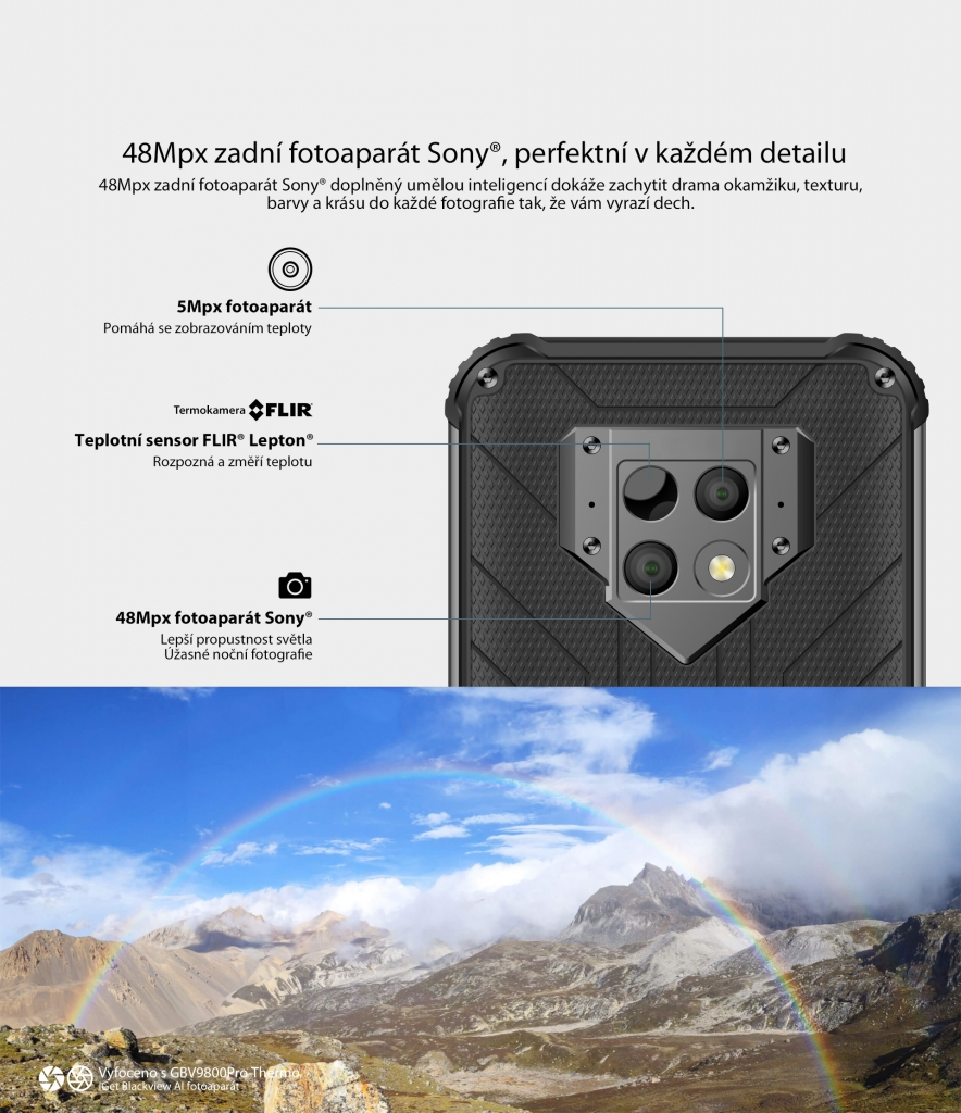 Odolný telefon iGET Blackview GBV9800 Pro Thermo