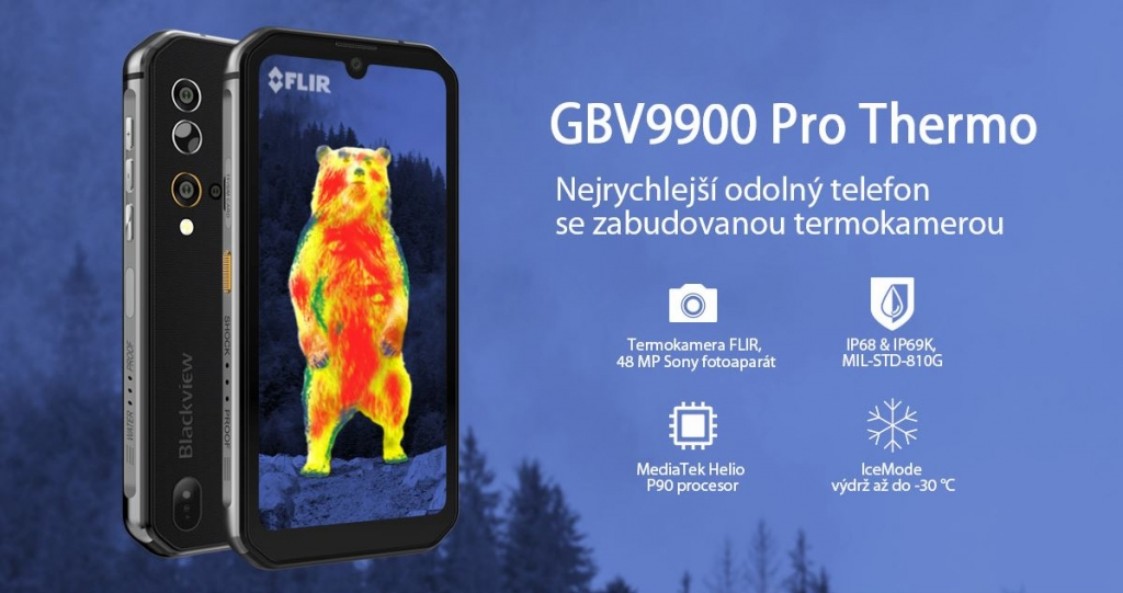 Odolný telefon iGET Blackview GBV9900 Pro Thermo