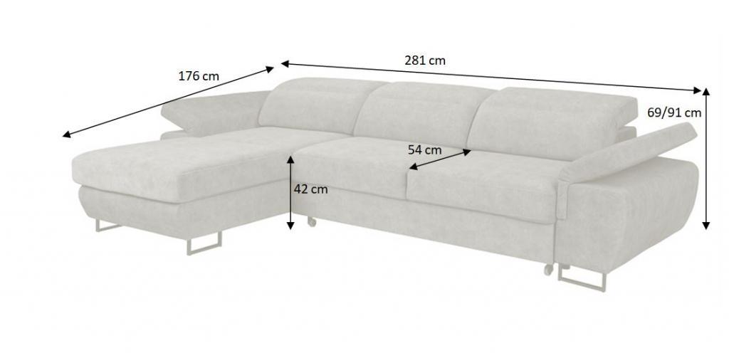 Nákres s rozměry sedačky Lucca