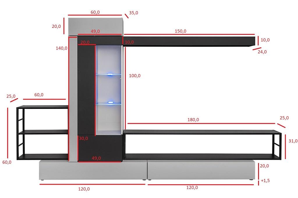 Rozměry obývací stěny