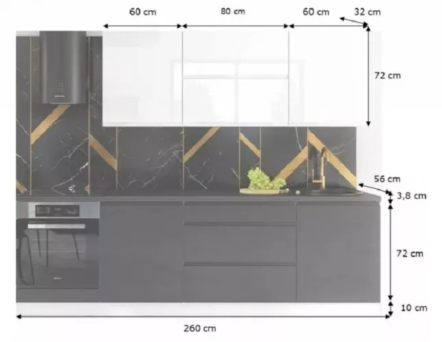 Rozmery modernej kuchynskej linky Marsala 260 cm