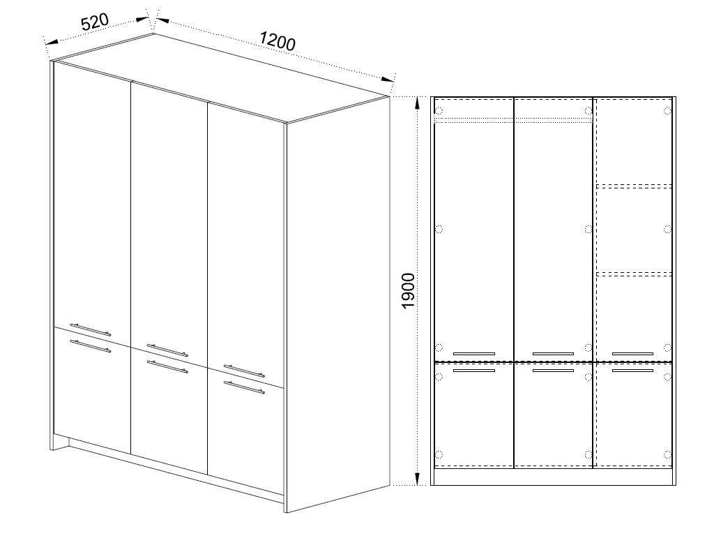 Skříň Melba 1 - Rozměry