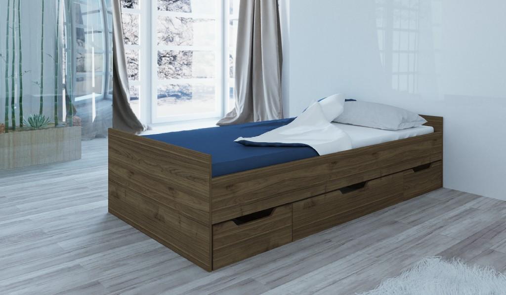 Drevená posteľ s úložným priestorom Suen