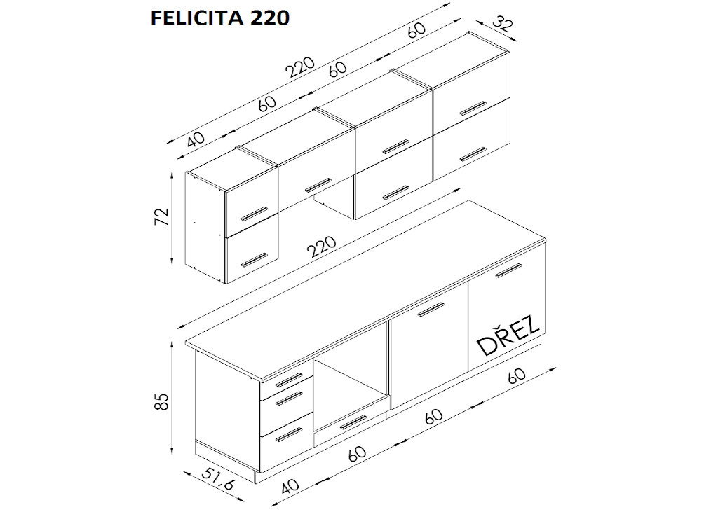 Kuchyně Felicita - nákres s rozměry