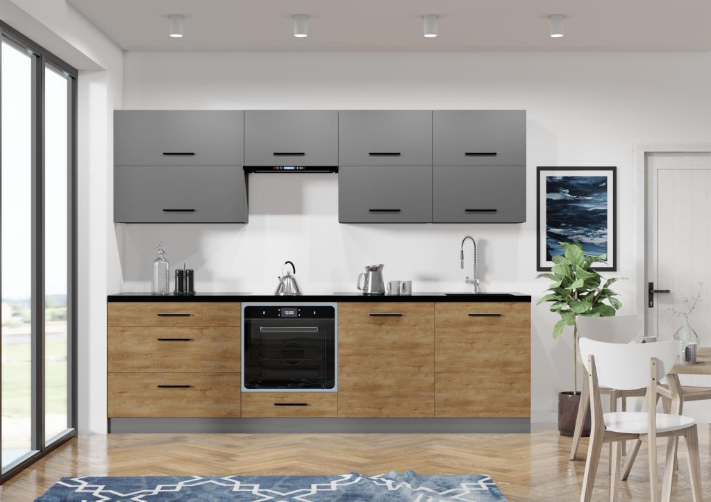Sivá kuchyňa s drevom Felicita v interiéri