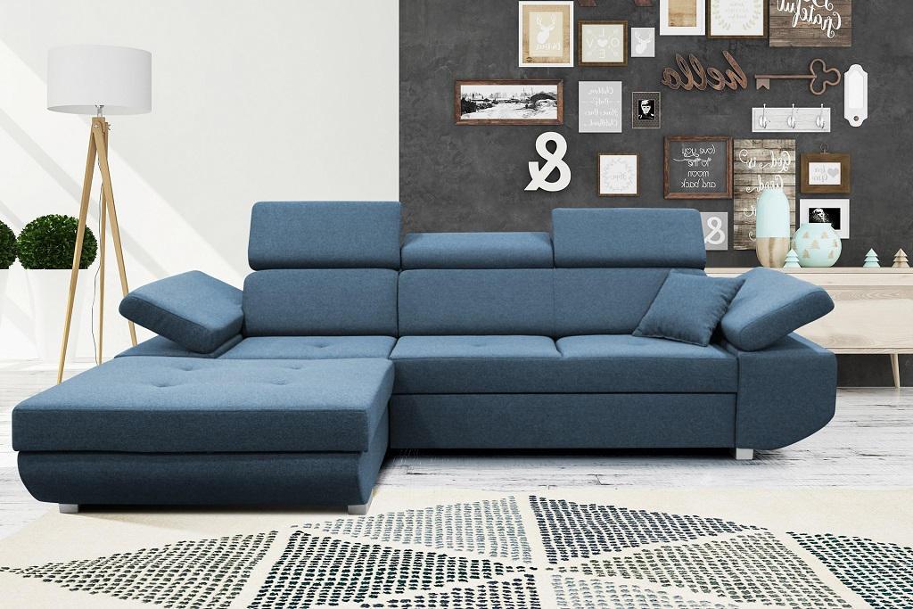Modrá sedačka Gans - interiérové foto