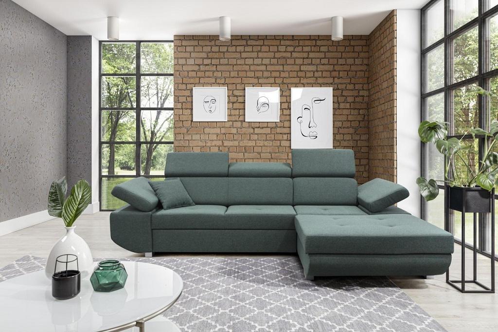 Zelená sedačka Gans - interiérové foto