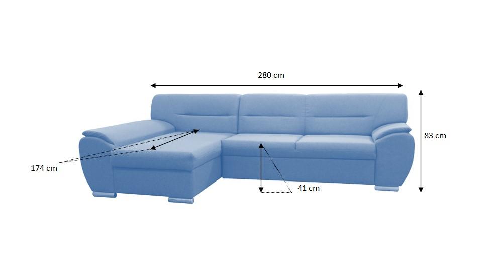 Nákres s rozmermi rohovej sedačky Fortino