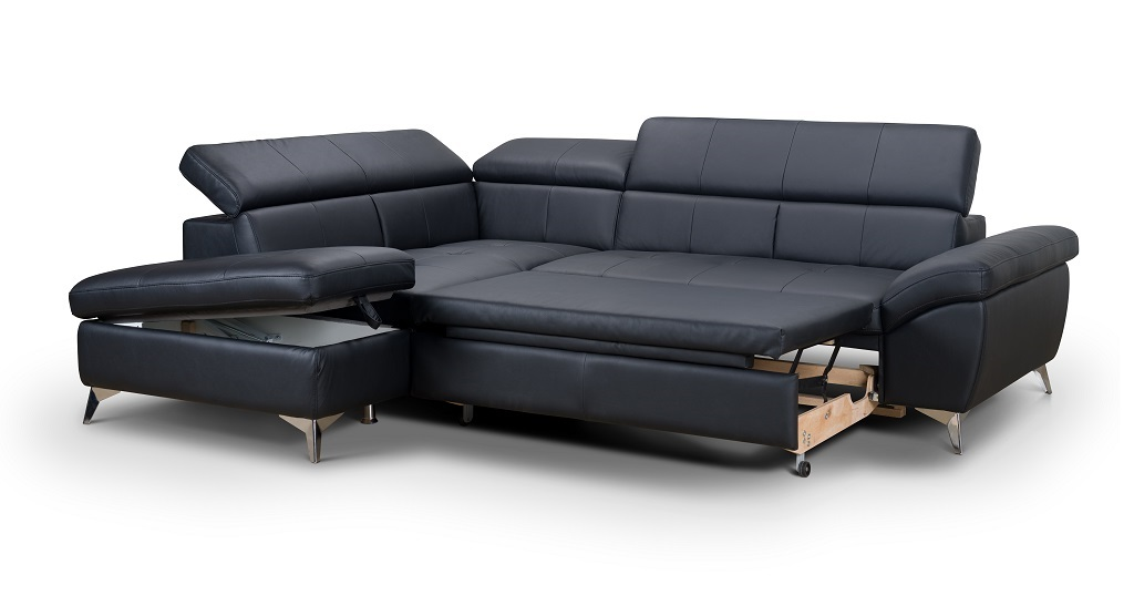 Kožená sedačka Barx - rozklad a úložný prostor