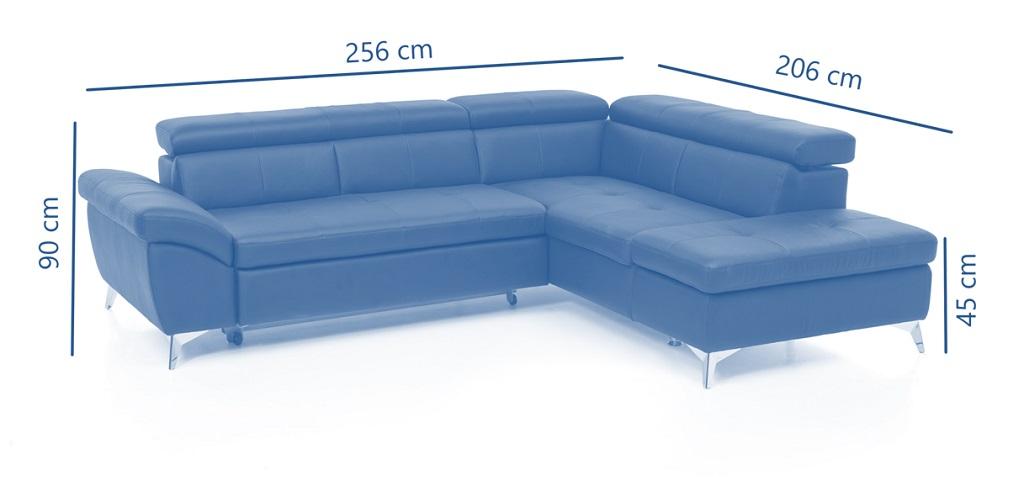 Kožená sedačka Barx - Nákres s rozměry