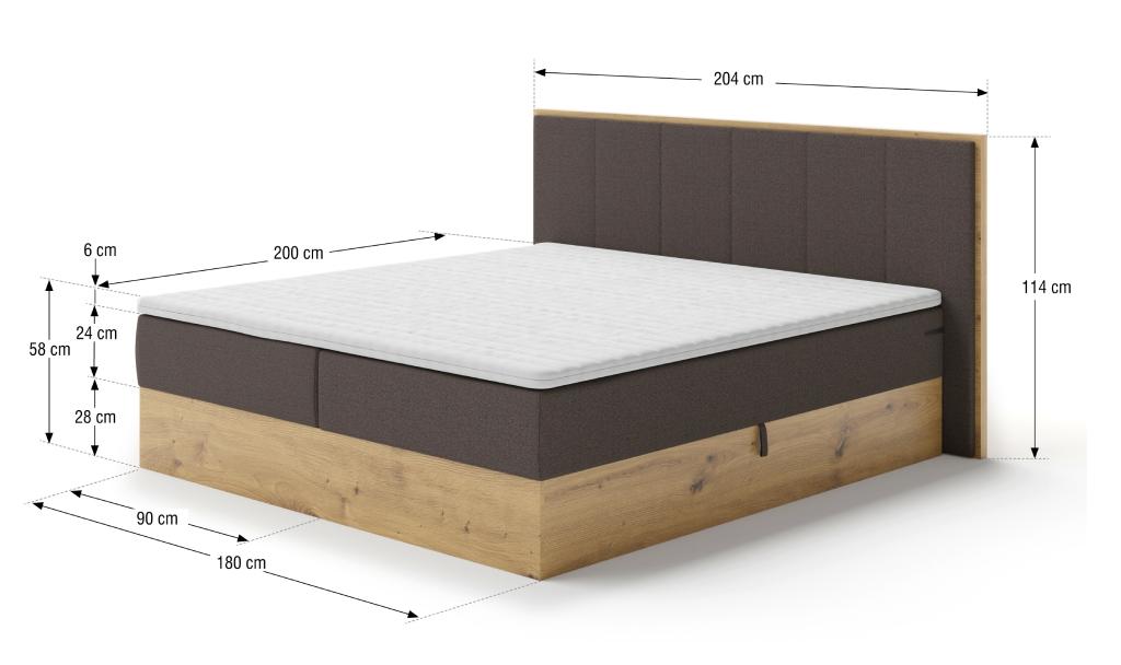 Rozměry postele Carolina