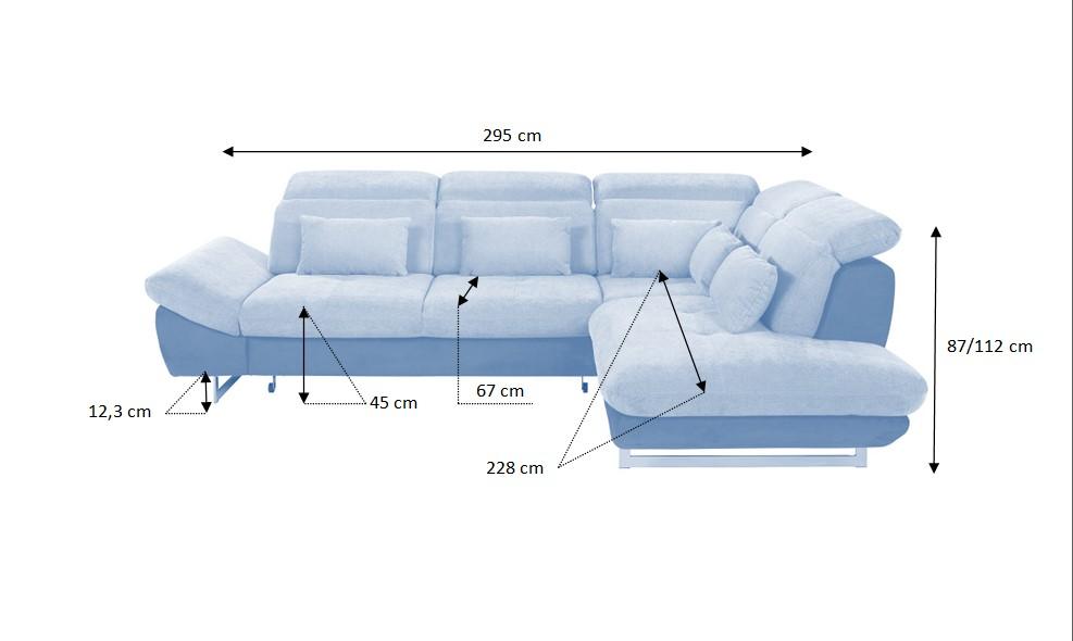 Rozmery rozkladacej rohovej sedačky Jersey
