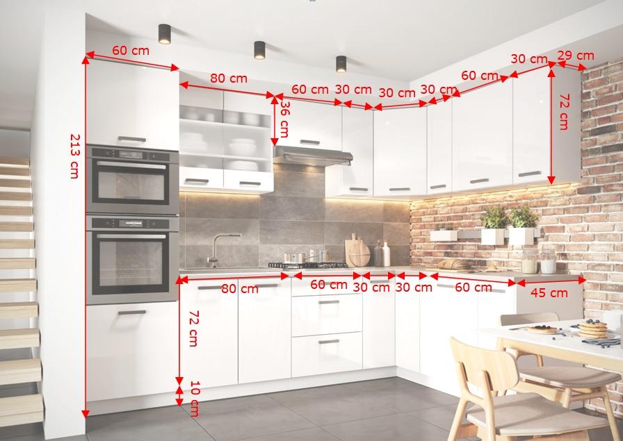 Kuchyně Vicky - nákres s rozměry