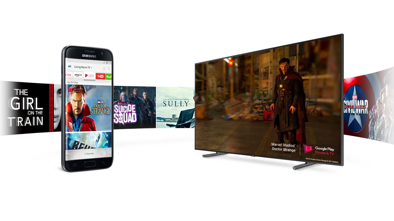 Souhra se smartphonem QLED TV