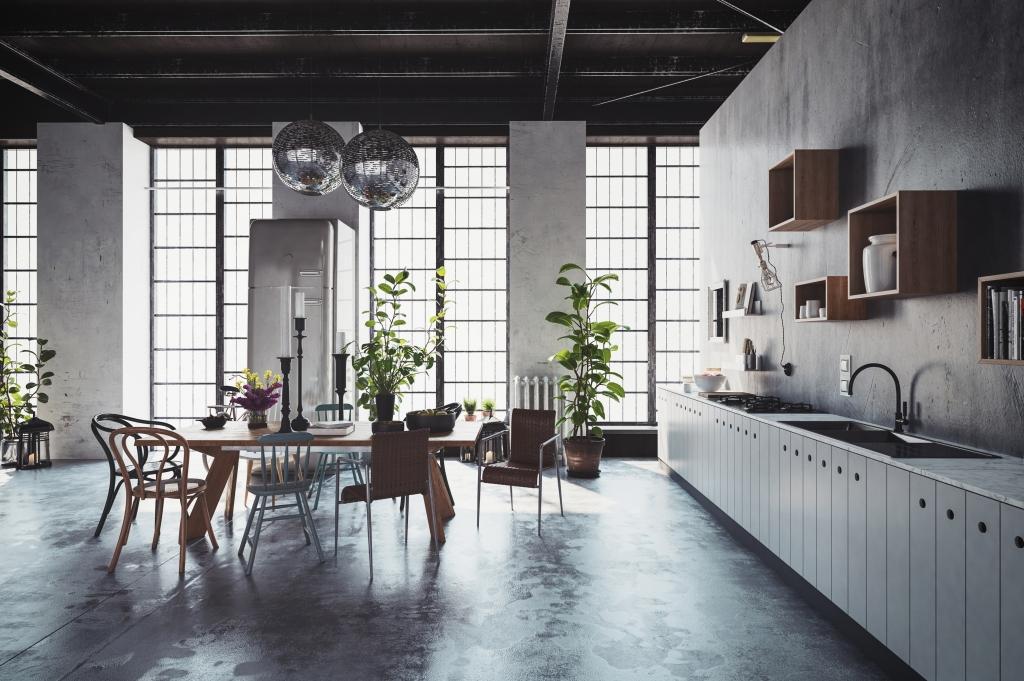 kuchyně v loftovém bytě