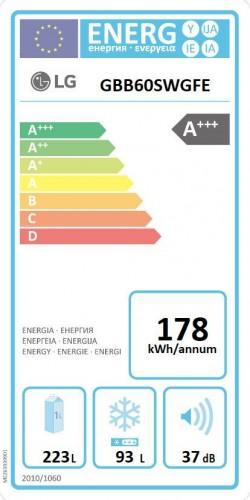 Energetický štítek lednice LG GBB60SWGFE