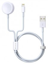 2v1 kabel Devia pro Apple Watch/lightning, 1.2m, bílá