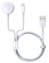 2v1 kabel Devia pro Apple Watch/lightning, 1.2m, bílá POUŽITÉ, NE