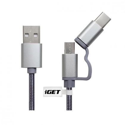 2v1 Kabel iGET Micro USB/USB Typ C na USB, 1m, prodloužený