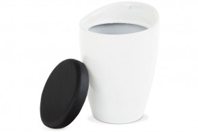 2v1 - Taburet (plast bílý/sedák černá PU)