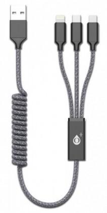 3v1 Kabel Aligator Micro USB/Lightning/USB Typ C na USB, černá