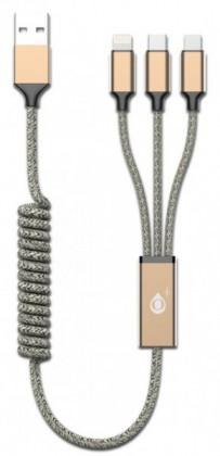 3v1 Kabel Aligator Micro USB/Lightning/USB Typ C na USB, zlatá