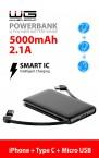 3v1 Powerbanka WG 5000mAh MicroUSB+USB Typ C+Lightning, černá