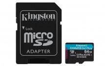 64GB microSDXC Kingston A2 U3 V30 170MB/s + adapt.