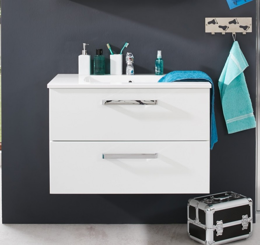 Adamo - Umyvadlová skříňka 80 cm - 2 zásuvky (bílá)