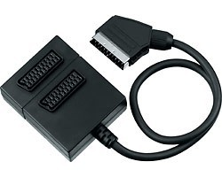 Adapter SCART-2xSCART F, kabel 0,5m