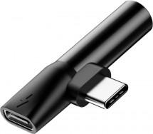 Adaptér USB Typ C na Typ C + 3,5mm Jack, černá