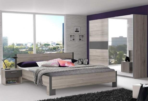 Adria 2 - Ložnice, postel 160 (šedá matná/dub pískový)