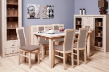 Aga - Set 6x židle, 1x stůl + rozklad (sonoma/nubuk 26w)