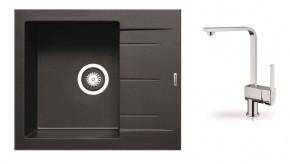 Alazia - Granitový dřez 59x50 (černá) + baterie Espressivo