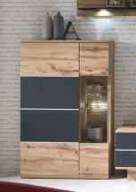 Alberto - Vitrína pravá, 2x dveře (dub wotan/dub wotan, černá)