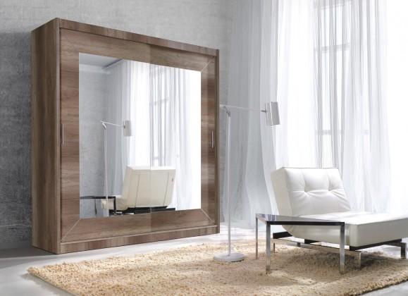 Alfa - Skříň 200x215x60 cm, posuvné dveře, zrcadlo (dub country)