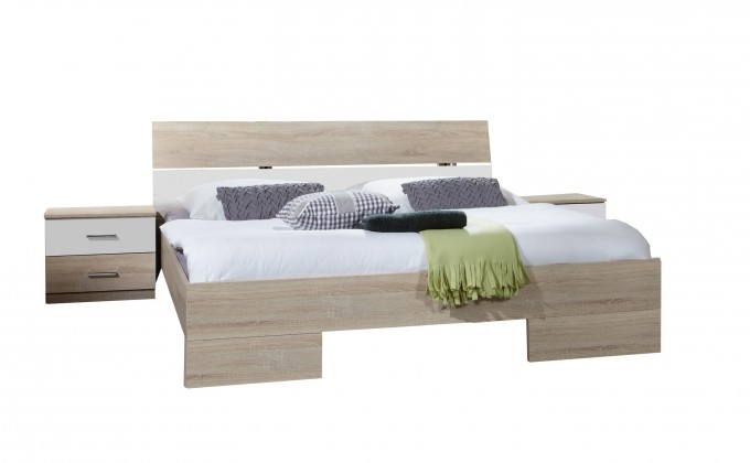 Alina - Komplet 7, postel 160 cm (dub, alpská bílá)