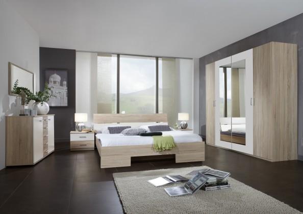 Alina - Komplet 9, postel 180 cm (dub, alpská bílá)