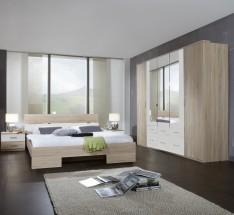 Alina - Komplet, postel 180 cm (dub, alpská bílá)