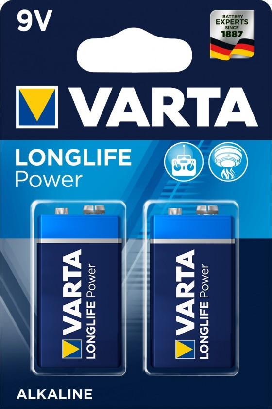 Alkalické baterie Alkalické baterie VARTA LONGLIFE Power 9V, 2ks