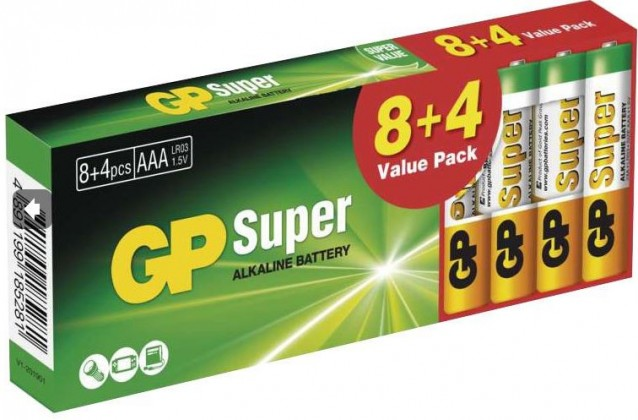 Alkalické baterie Baterie Alkaline GP Super B1310T, AAA, 8+4ks