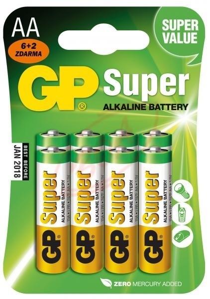 Alkalické baterie Baterie GP SUPER Alkaline AA 8 ks