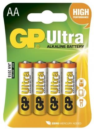 Alkalické baterie Baterie GP Ultra Alkaline, AA, 4ks