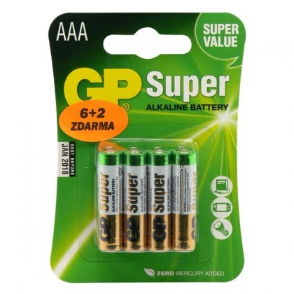 Alkalické baterie Baterie GP Ultra Alkaline AAA 8ks