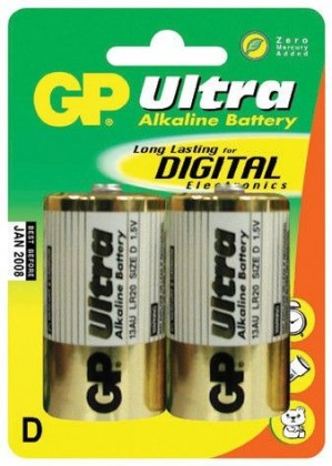 Alkalické baterie Baterie GP Ultra Alkaline, D, 2ks